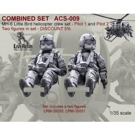 COMBINED SET   MH-6 Little Bird helicopter pilots set - Pilot 1 and Pilot 2. Two figures in set LRM-35050, LRM-35051 - DISCOUNT 5%