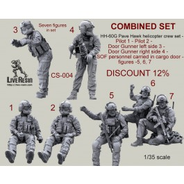 COMBINED SET - HH-60G Pave Hawk helicopter crew set - Pilot 1 - Pilot 2 - Door Gunner left side 3 - Door Gunner right side 4 - SOF personnel carried in cargo door - figures -5, 6, 7 . Seven figures and two accessories in set. DISCOUNT 12%