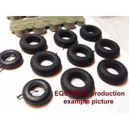 1/48 for Hs-129A Rubber/Resin Wheels set. Set includes rubber tyres and resin wheels. High precision