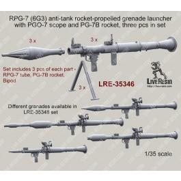 RPG-7 (6G3) anti-tank rocket-propelled grenade launcher with mechanical sight, bipod and PG-7B rocket, 3 pcs in set