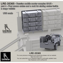 Russian mobile mortar complex SANI - part 4 - Four ammo crates and a rack for storing crates inside a cargo vehicle
