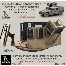 US MARSOC/Navy Seals GMV-M Six Grain Turret with hand made ammo cradle side version. Set includes turret only, not a shield and weapons. Recommend to use with all range Live Resin weapons
