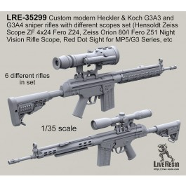 Custom modern Heckler & Koch G3A3 and G3A4 sniper rifles with different scopes set (Hensoldt Zeiss Scope ZF 4x24 Fero Z24, Zeiss Orion 80/I Fero Z51 Night Vision Rifle Scope, Red Dot Sight for MP5/G3 Series, etc