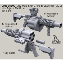 M32 Multi-Shot Grenade Launcher (MGL)with Trijicon RX01 red dot sight, closed and opened cylinder variants in set (2 pcs)