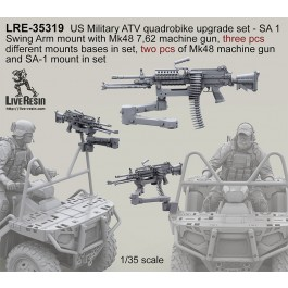 US Military ATV quadrobike upgrade set - SA 1 Swing Arm mount with Mk48 7,62 machine gun, three different mounts in set, two pcs of Mk48 machine gun and SA 1 mount in set