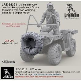 US Military ATV quadrobike upgrade set - Spare Terrathon wheel on webbing slings for bumper mount