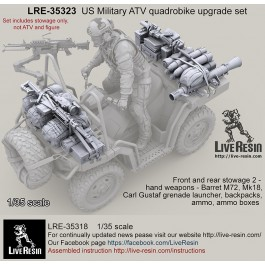 US Military ATV quadrobike upgrade set - Front and rear stowage 2 - hand weapons - Barret M72, Mk18, Carl Gustaf grenade launcher, backpacks, ammo, ammo boxes