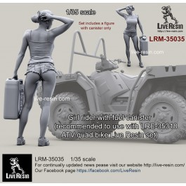 Girl rider with fuel canister (recommended to use with LRE-35318 Polaris MV 850 ATV quad bike Live Resin set)