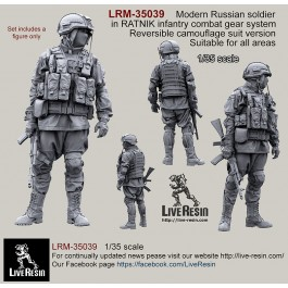 Russian Army soldier in modern infantry combat gear system, set 1. Reversible camouflage suit version. Suitable for all areas.
