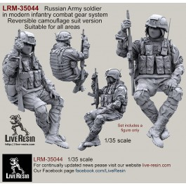Russian Army soldier in modern infantry combat gear system, set 6. Reversible camouflage suit version. Suitable for all areas.