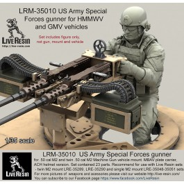 US Army Special Forces gunner for .50 cal M2 and twin .50 cal M2 Machine Gun vehicle mount. MBAV plate carrier, ACH helmet version. Set contained 23 parts. Recommend for use with Live Resin sets - twin M2 mount LRE-35289, LRE-35290 and single M2 mount LRE
