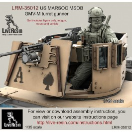 US MARSOC Marine Special Operations Batalion/ Navy Seals GMV-M turret gunner. LBT plate carrier, ACH helmet version. Set contained 20 parts. Recommend for use with Live Resin turret sets -  LRE-35291 - LRE-35290 and  LRE-35228 - LRE35235, LRE35151