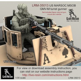 US MARSOC Marine Special Operations Batalion/ Navy Seals GMV-M turret gunner. LBT plate carrier, beraded version. Set contained 16 parts. Recommend for use with Live Resin turret sets -  LRE-35291 - LRE-35290 and  LRE-35228 - LRE35235, LRE35151