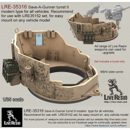 Save-A-Gunner turret II modern type for all vehicles. Recommended to use with LRE35152 set, for mount on any roof hole