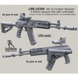 AK-12 modern Russian 5.45mm assault rifle and colllimator scope - 6x pcs in set, 4x pcs with opened stock, 2x pcs with closed stock