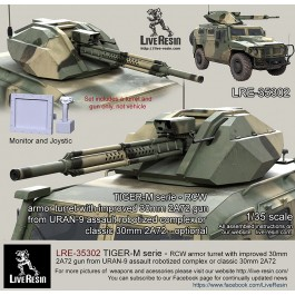 TIGER-M serie - RCW armor turret with improved 30mm 2A72 gun from URAN-9 assault robotized complex or classic 30mm 2A72 - optional