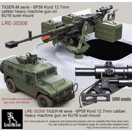 TIGER-M serie - 6P58 Kord 12.7mm caliber heavy machine gun on 6U16 turel mount with SPP scope for TIGER-M upper ring mount, set includes 2 pcs of KORD high realistic bodies flash hider and muzzle brake versions