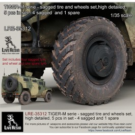 TIGER-M serie - sagged tire and wheels set, high detailed, 5 pcs in set