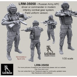 Russian Army APC driver or commander in modern infantry combat gear system set 11. Field uniform version