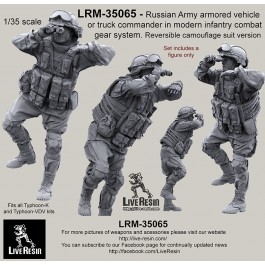 Russian Army armored vehicle or truck commander in modern infantry combat gear system set 18. Reversible camouflage suit version. Fits all Typhoon-K and Typhoon-VDV kits