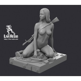 "Becca - Resin Girl Figure with AN-94 ""Abakan"" assault rifle and armor hatch base, 1/35 scale. Unpainted"