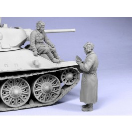 Soviet tank officers.  Winter 1941-42.  Two figures.