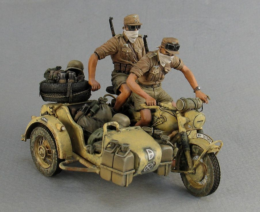 german motorcycle rider iii with mg42  africa corps