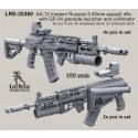 AK-12 modern Russian 5.45mm assault rifle with GP-34 grenade launcher and Valdai colllimator scope