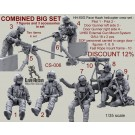 COMBINED SET - HH-60G Pave Hawk helicopter crew set - Pilot 1 - Pilot 2 - Door Gunner left side 3 - Door Gunner right side 4 - UH60 External Gun Mount System GAU-18 x 2 pcs.- SOF personnel carried in cargo door - figures - 7, 8, 9 - Fast Rope mount frame