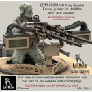 US Army Special Forces gunner for .50 cal M2 and twin .50 cal M2 Machine Gun vehicle mount. MBAV plate carrier, bearded version. Set contained 22 parts. Recommend for use with Live Resin sets - twin M2 mount LRE-35289, LRE-35290 and single M2 mount LRE-35