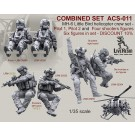 COMBINED SET   MH-6 Little Bird helicopter crew set - Pilot 1, Pilot 2 and Four shooters figures TYPE 2. Six figures in set - DISCOUNT 10%