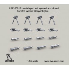 Harris bipod set, opened and folded, Surefire tactical WeaponLights