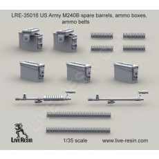 M240B spare barrels, ammo boxes, ammo belts