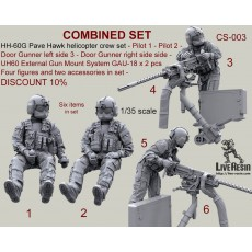 COMBINED SET - HH-60G Pave Hawk helicopter crew set - Pilot 1 - Pilot 2 - Door Gunner left side 3 - Door Gunner right side 4 - UH60 External Gun Mount System GAU-18 x 2 pcs. Four figures and two accessories in set. DISCOUNT 10%