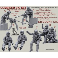 COMBINED SET - HH-60G Pave Hawk helicopter crew set - Pilot 1 - Pilot 2 - Door Gunner left side 3 - Door Gunner right side 4 - UH60 External Gun Mount System GAU-18 x 2 pcs.- SOF personnel carried in cargo door - figures - 7, 8, 9 Seven figures and two ac
