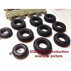 1/48 for T-50 (PAK-FA) b/n 51 Rubber/Resin Wheels set. Set includes rubber tyres and resin wheels. High precision
