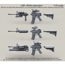 US Army M4 carbine Easy Kit, you can assemble 20 different carbine variations using just 9 parts, 1/16 scale