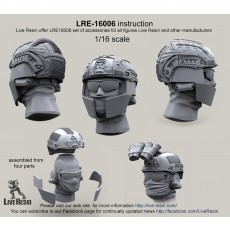 Crye Airframe helmet with cover and choops with head, 1/16 scale