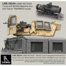 MCTAGS - Marine Corps Transparent Armored Gun Shield USMC Turret  with  M240G Machine Gun and Trijicon TA648MGO scope. M240G machine gun is included