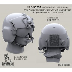 HGU/56P HGU-56/P Rotary Wing Aircrew Helmet System with pilot with lowered visors, looks foward and looks aside