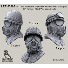 M17 US Protective GasMask with Nuclear, Biological, Chemical protective Hood and M1 helmet - Cold War period style looks foward and looks aside position