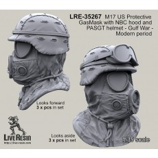 M17 US Protective GasMask with NBC hood and PASGT helmet - Gulf War - Modern periods looks foward and looks aside position