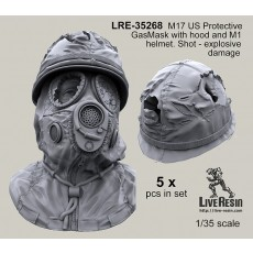 M17 US Protective GasMask with hood and M1 helmet - bullet shoot damage