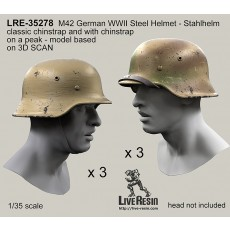 M42 German WWII Steel Helmet - Stahlhelm 42, classic chinstrap and with chinstrap on a peak - real helmet replica