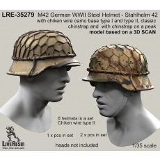M42 German WWII Steel Helmet - Stahlhelm 42 with chiken wire camo base type I and type II, classic chinstrap and with chinstrap on a peak - real helmet replica
