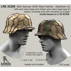 M42 German WWII Steel Helmet - Stahlhelm 42 with wire camo base and chiken wire camo base type III, classic chinstrap and with chinstrap on a peak - real helmet replica