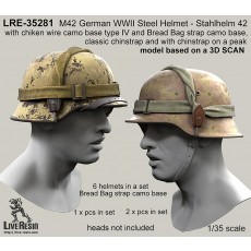 M42 German WWII Steel Helmet - Stahlhelm 42 with chiken wire camo base type IV and Bread Bag strap camo base, classic chinstrap and with chinstrap on a peak - real helmet replica