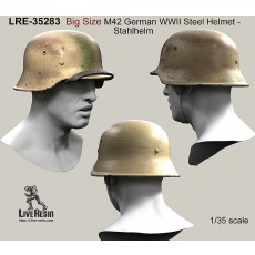 Big Size M42 German WWII Steel Helmet - Stahlhelm 42, classic chinstrap and with chinstrap on a peak - real helmet replica