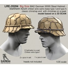 Big Size M42 German WWII Steel Helmet - Stahlhelm 42 with chiken wire camo base type I and type II, classic chinstrap and with chinstrap on a peak - real helmet replica