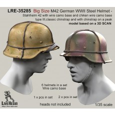 Big Size M42 German WWII Steel Helmet - Stahlhelm 42 with wire camo base and chiken wire camo base type III, classic chinstrap and with chinstrap on a peak - real helmet replica